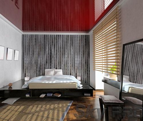 Установка натяжного потолка в спальне в Пестово